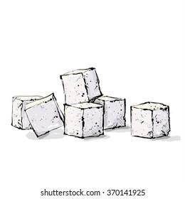 Hand draw of sugar cubes. Vector illustration.