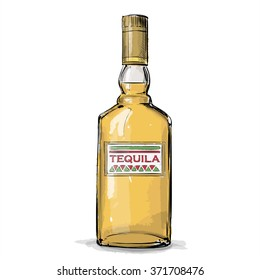 Hand draw of tequila bottle. Vector illustration.