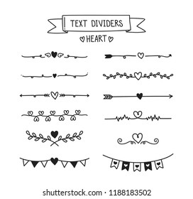 Hand draw text divider set. Heart with lines elements.