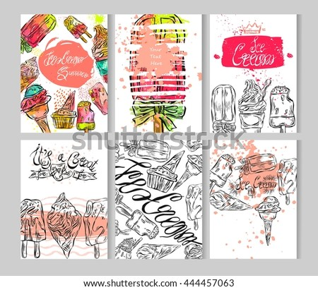 hand draw textured ice cream card stock vector royalty free