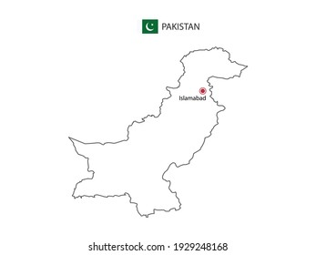 Hand draw thin black line vector of Pakistan Map with capital city Islamabad on white background.