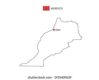 Hand draw thin black line vector of Morocco Map with capital city Rabat on white background.
