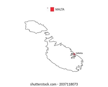 Hand draw thin black line vector of Malta Map with capital city Valletta on white background.