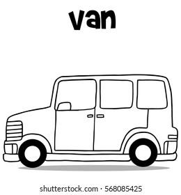 Hand draw transportation of van vector illustration