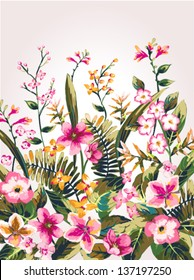 hand draw tropical flower,blossom cluster pattern background