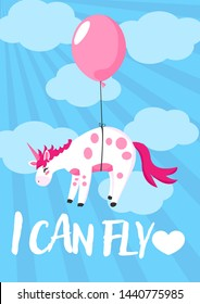 Hand draw unicorn flying a ballons in sky illustration in cartoons style with motivation quotes i can fly for postcard, posters, t-shirts, web banners or another your design.