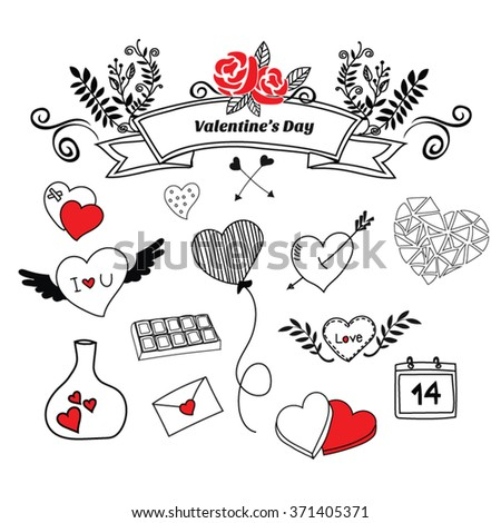 Hand Draw Valentines Day Stock Vector Royalty Free 371405371