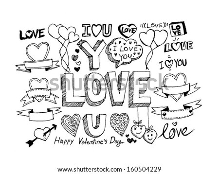 Hand Draw Valentines Day Design Stock Vector Royalty Free