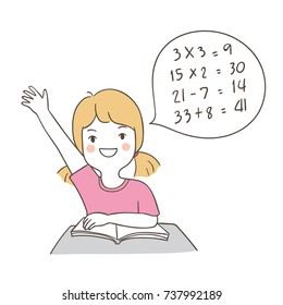 Hand draw vector character design happy girl hand up in classroom for the answer of math.Doodle cartoon style.