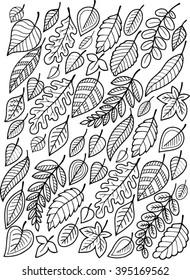 Hand draw vector doodle coloring page for adult. I love Autumn. Bright falling Leaves