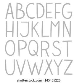 Hand draw vector full alphabet. The vector Roman alphabet.