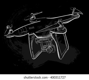 Hand draw vector illustration  aerial vehicle (quadrocopter). Air drone hovering. Drone sketch