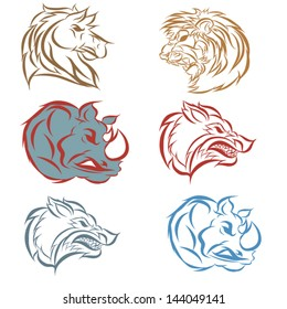 Hand draw Vector illustration of animal faces.