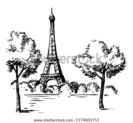 Hand Draw Vector Illustration Eiffel Tower Stock Vector Royalty