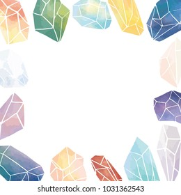 Hand draw vector illustration of watercolor crystal with blank space for text on white background.Empty space inside crystal border frame.