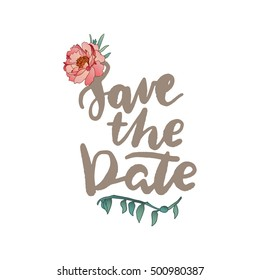 hand draw vector peonies and succulents save the date card for wedding