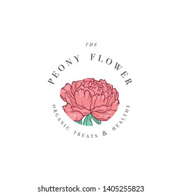 Hand draw vector peony flowers logo illustration. Floral wreath. Botanical floral emblem with typography on white background