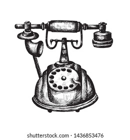Hand draw vintage phone sketch illustration white isolated
