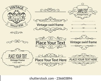 Hand draw vintage swirl frame and page dacoration,vector EPS 10