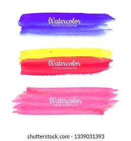 Hand Draw Watercolor Strokes set vector