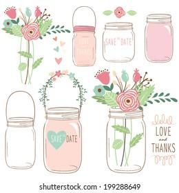 Hand Draw Wedding Flower Mason Jar