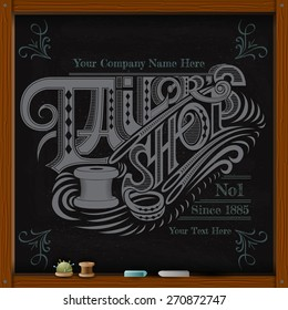 hand draw white chalk on board tailor shop calligraphy text with needle and spool