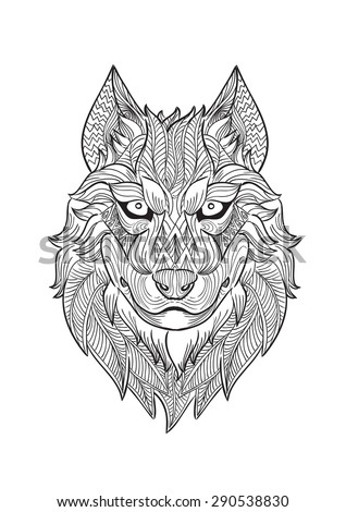 how to draw wolf head