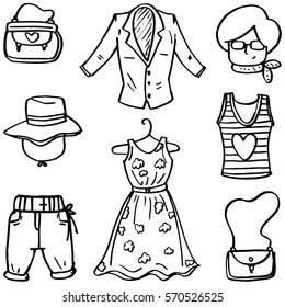 Hand draw of women clothes doodles vector art