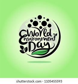 Hand Draw World Environment Day On Green Gradient Background. Vector Illustration.