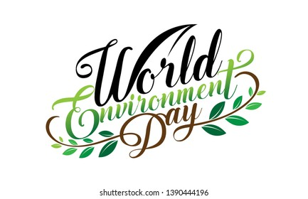 Hand Draw World Environment Day On White Background. Vector Illustration.