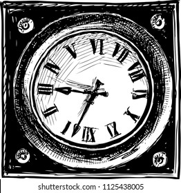 Hand drawing of an abstract square clock