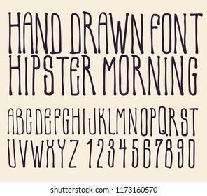 Hand drawing alphabet Hipster Morning. vector illustration.