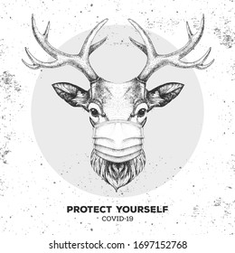 Hand drawing Animal deer wearing face medical mask. Covid-19 protection methods. Coronavirus Quarantine Warning. Vector illustration