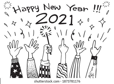hand drawing applause applause. applause, thumbs up gesture, celebrating new year in doodle style, vector illustration