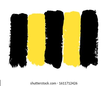Hand drawing, background. Trendy flat grunge style. Stylish vertical strip. Brush strokes, stains. Interesting textures. Yellow and black bee