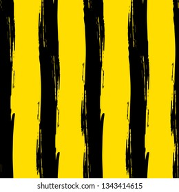 Hand drawing, background. Trendy seamless pattern. Stylish vertical strip. Brush strokes, stains. Interesting textures. Yellow and black bee
