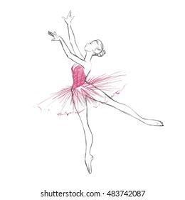 A Hand Drawing of a Ballerina. Vector Illustration of a Ballet Dancer Girl.