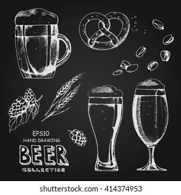 Hand drawing beer collection, Oktoberfest sat. Sketch different glasses beer, hops and malt, beer snack: pretzel, pistachios, white hand drawing isolated vector illustration on chalkboard.