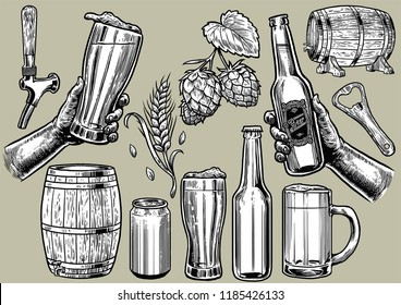 hand drawing of beer objects in set