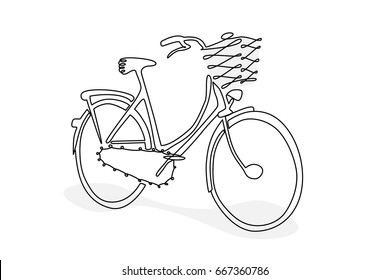 Hand drawing bicycle doodle style