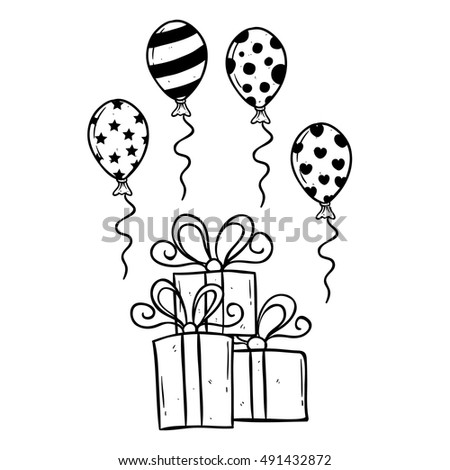 Hand Drawing Birthday Gift Balloon Outline Stock Vector Royalty