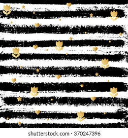 Hand drawing black-and-white stripes with golden symbols. Illustration for posters, greeting cards, prints and web projects.