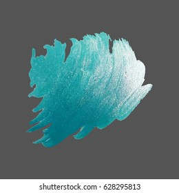 Hand drawing of bright blue brush stroke on grey background, metal glittering paint stain, shining effect, luxury element, vector illustration