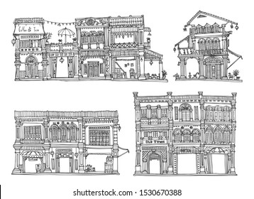 Hand Drawing. Buildings Sketch. Old town