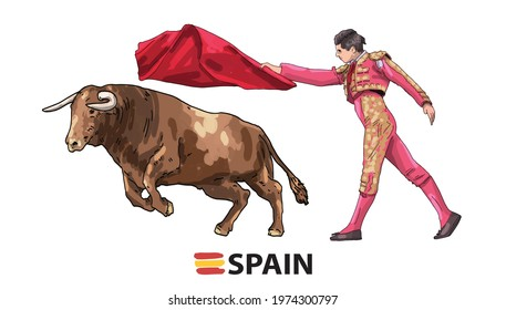 Hand Drawing. Bullfighting. Public traditional performance in Spain. Matador, bull, red cape.