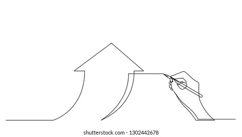 hand drawing business concept sketch of economical growth arrow
