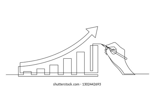 hand drawing business concept sketch of economical growth chart with arrow
