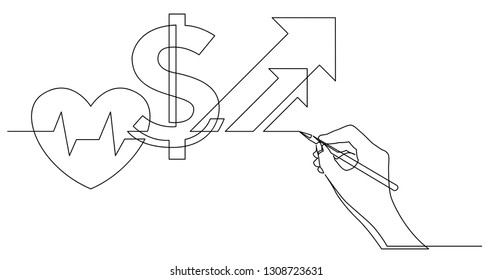Continuous Line Drawing Heart Images Stock Photos Vectors