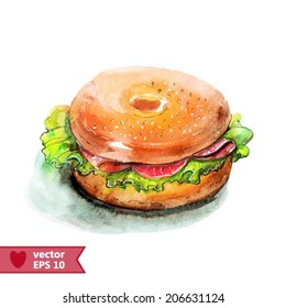 hand drawing by a water color sandwich
