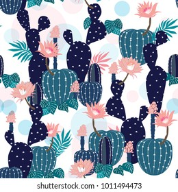 Hand drawing Cactus Plant and flowers  Seamless Pattern. Exotic Tropical Summer Botanical Background in Vector ,Summer sweet colorful bright on white background